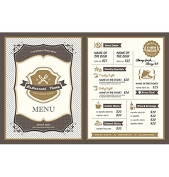 Vintage frame restaurant menu design vector