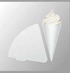 White soft ice cream waffle cone in carton foil vector