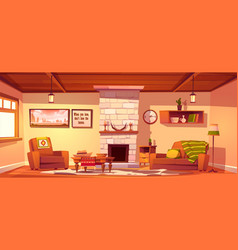 Wild west living room empty western style interior vector