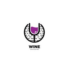 Wine drink emblem logo template vector