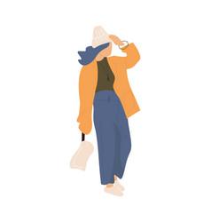 woman walking cartoon female goes outdoor vector image