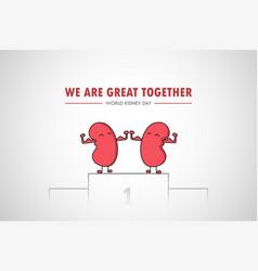 World kidney day cartoon health awareness medical vector