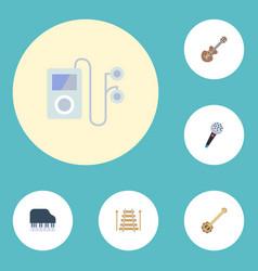 flat icons octave keyboard banjo musical vector image vector image