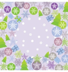 Merry Christmas Card green lilac and purple Round vector image
