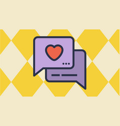 message box and heart icons vector image vector image