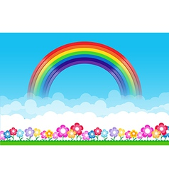 Rainbow on Nature background with green grass and vector image
