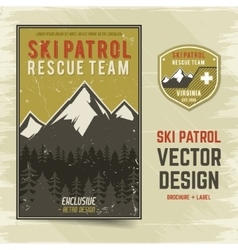 Ski patrol brochure and label The camp vector image vector image