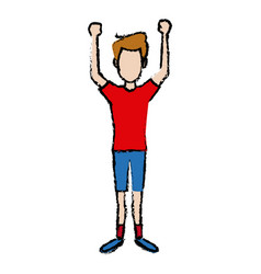 Standing young man character gesturing cheerful vector