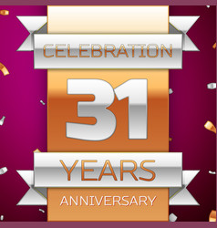 thirty one years anniversary celebration design vector image vector image
