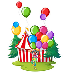 circus clown with colorful balloons vector image vector image