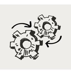 Gear mechanism or work doodle vector