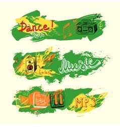 Grunge sketch music banners vector image vector image