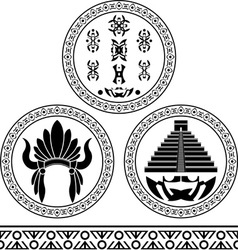 mayan signs headdress pyramid and pattern stencils vector image vector image