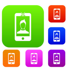 mobile phone with photo set collection vector image