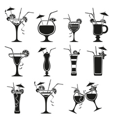 Set of cocktails on white background vector image vector image