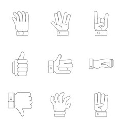 sign board icons set outline style vector image