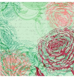 Vintage background with rose flowers vector image vector image