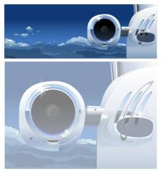 business jet in the sky vector image