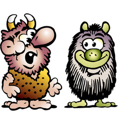 cartoon of two funny goblins or troll monsters vector image