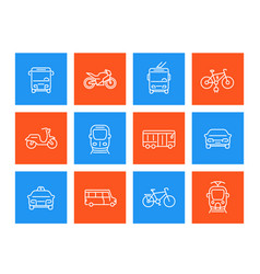 city transport linear icons vector image vector image