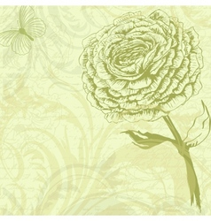 Grungy retro background with rose flower vector image vector image