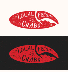Local fresh crabs sign seafood abstract vector