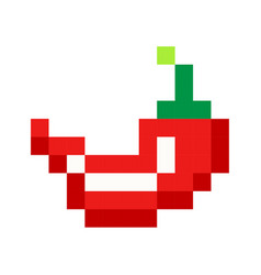 pixel red hot pepper art cartoon retro game style vector image vector image