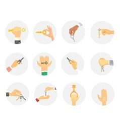 Hands holding keys set vector image