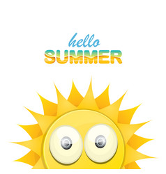 hello summer label with smiling shiny sun vector image vector image
