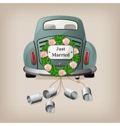 Just married on car wedding car vector