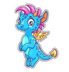little cute cartoon dragon patch vector image