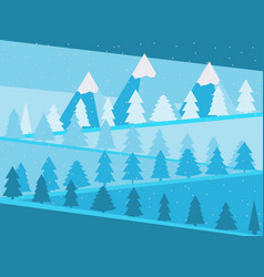 mountain landscape with christmas trees snowy vector image vector image