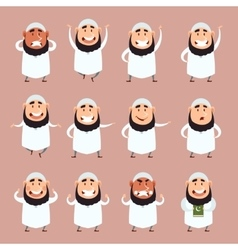 Set of cartoon muslim icons3 vector image vector image