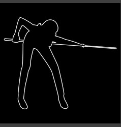 Woman playing billiards the white path icon vector