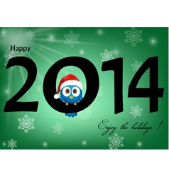 2014 celebration background with funny blue bird vector image