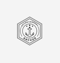 Anchor nautical marine logo design vector