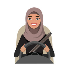 Arab businesswoman driving a car arab woman vector