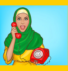 Arabic woman in hijab talking on vintage phone vector
