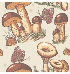 autumn seamless texture white mushrooms saffron vector image