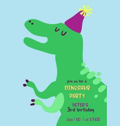 Babirthday invitation card with funny dinosaur vector