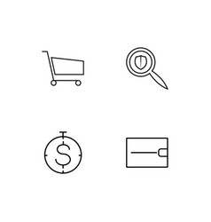 Banking linear icons set simple outline icons vector