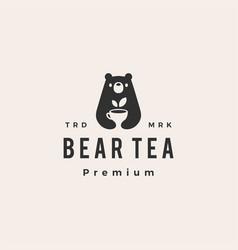 bear tea drink hipster vintage logo icon vector image