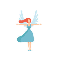 Beautiful young woman with wings freedom civil vector
