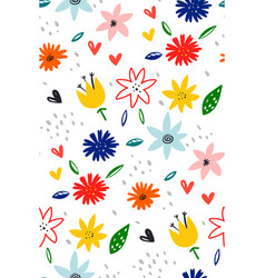 blossom flowers pattern in blooming botanical vector image