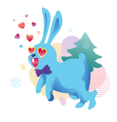 blue bunny in heart shaped glasses vector image