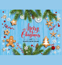 blue wood christmas background vector image