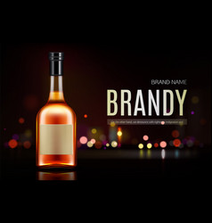 Brandy bottle mockup banner closed blank flask vector