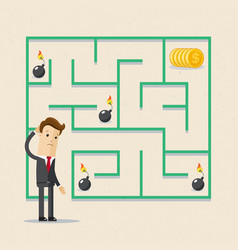 businessman and labrinth business task labyrinth vector image