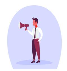 Businessman holding loudspeaker announcer male vector
