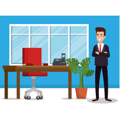 businessman in the office avatar character vector image
